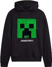 Minecraft Felpa Bambino, Felpe con Cappuccio per Ragazzi con Paillettes Reversibili, Pullover Ufficiale Motivo Creeper, Sweatshirt Cotone a Maniche Lunghe, Abbigliamento Bambino