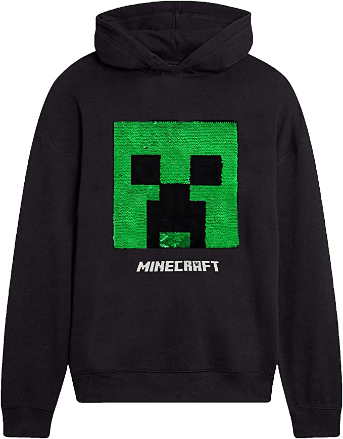 Minecraft Sweat Capuche, Vêtement Enfants Garçon Officiel, Pull Noir Sweatshirts à Sequins Réversible Creeper, Sweat Shirt Haut Jogging Survêtement