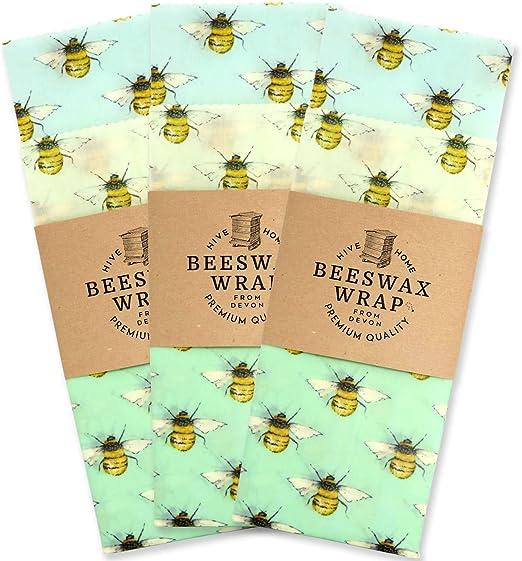 Hive to Home - Juego de 3 envoltorios de cera de abeja ...