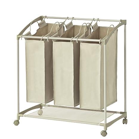 SoBuy® Cesto para Colada con 3 Compartimentos Ruedas Carrito de lavandería,cestos de lavandería