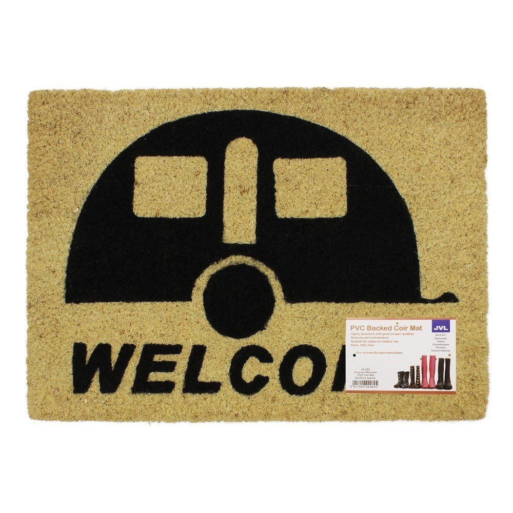 JVL Caravan Welcome Coir PVC Backed Entrance Door Mat, Rattan, 36 x 50 cm 02-282