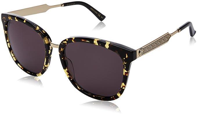 Gucci GG0073S, Gafas de Sol Unisex-Adulto, Avana-Gold-Grey, 55: Amazon.es: Ropa y accesorios