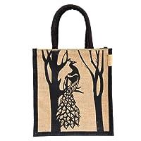 H&B Jute Bag - Jute Lunch Bag | Jute bag for Lunch | Tote bag | Tiffin Bag | Jute lunch bag for office | Jute bag for Tiffin | jute bags with zip | Totes (Print: Peacock, Beige, Size: 11x10x6 Inch)