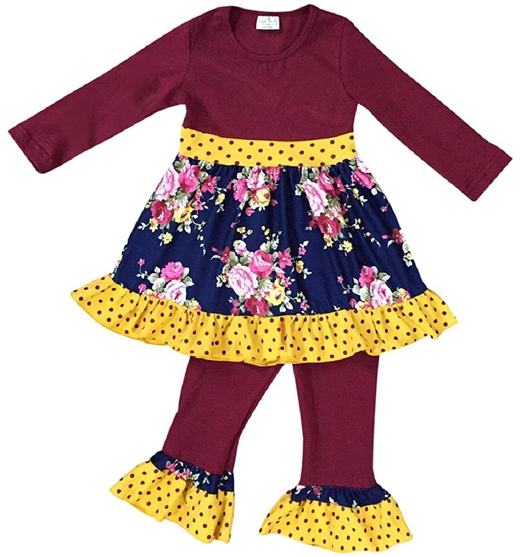 7f50a2e65051 2 Piece Girls Clothing Pant Set. Comes with Polka Dot Floral Long Sleeve  Dress Top with Ruffles Hem, Polka Dot Legging Pant. Comes in Size 2T, 3T,  4, 5, 6, ...