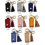 ASZNARD Travel Bottles Keychain Holder 8 Pieces/Set 30ML Empty Refillable Bottles Hand Sanitizer Leather Keychain Holder…