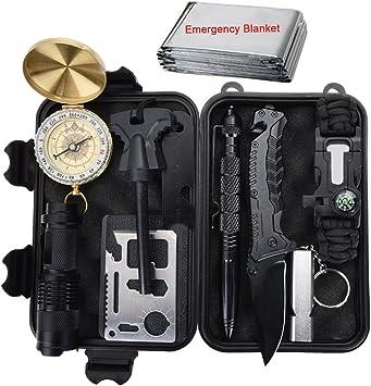 Kit de supervivencia al aire libre 11 en 1, herramienta de emergencia del engranaje de la supervivencia con el cuchillo, compás, manta de la emergencia, arrancador de fuego, linterna, silbido, pluma táctica