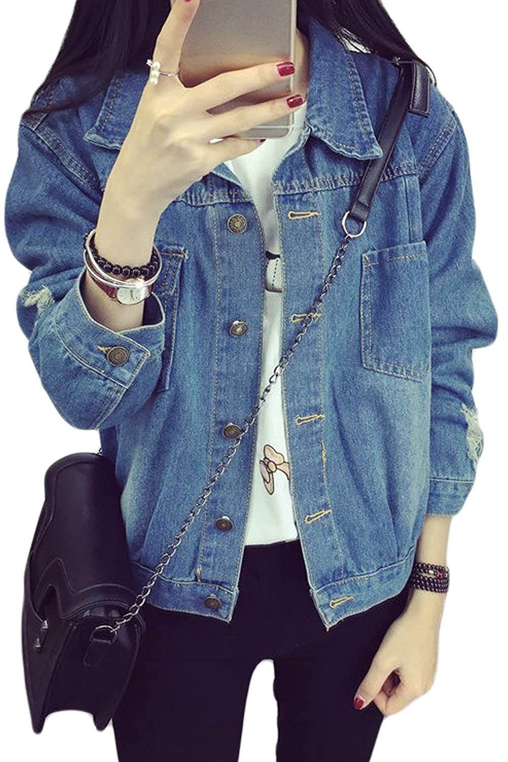 Women's Casual Retro Washed Loose Fit Boyfriend Ripped Hole Denim Jackets CAAFSMY67