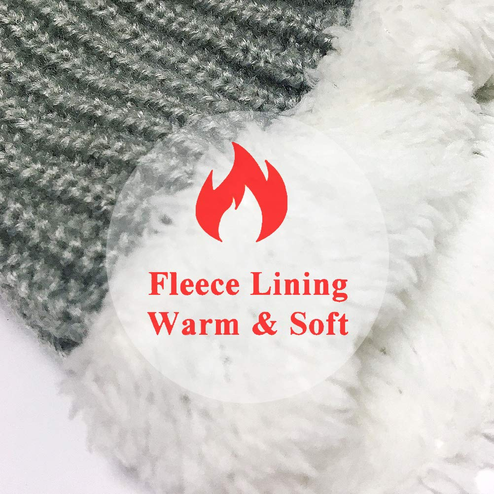 Uniyoung Baby Winter Warm Hat Scarf Toddler Girls Boys Ear Flaps Hood Balaclava Kids Fleece Lining Knit Pompom Beanie Hat with Visor Ski Snow Caps for 1-5 Years
