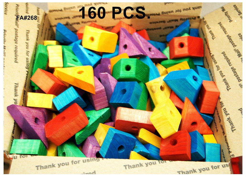 Wooden blocks Colored wood for bird parrot toy parts macaw African grey by legendary-Yes