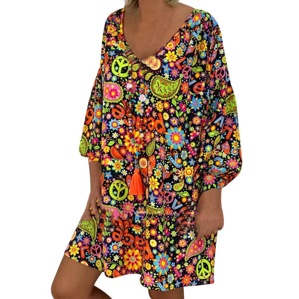 Donna Vestito Elegante Fantasia Scollo V Corto Abito da Sera Partito Banchetto Senza Maniche Mare Spiaggia Copricostume Mini Vestitino