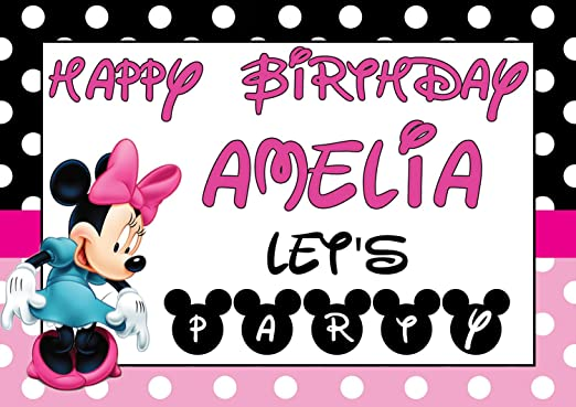 Personalizable Minnie Mouse V14 cumpleaños Banner Póster ...