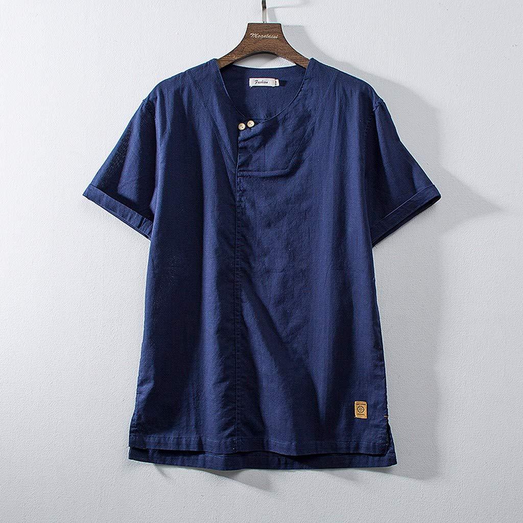 DATEWORK Fashion Mens Cotton Linen Solid Color Short Sleeve Retro T Shirts Tops Blouse