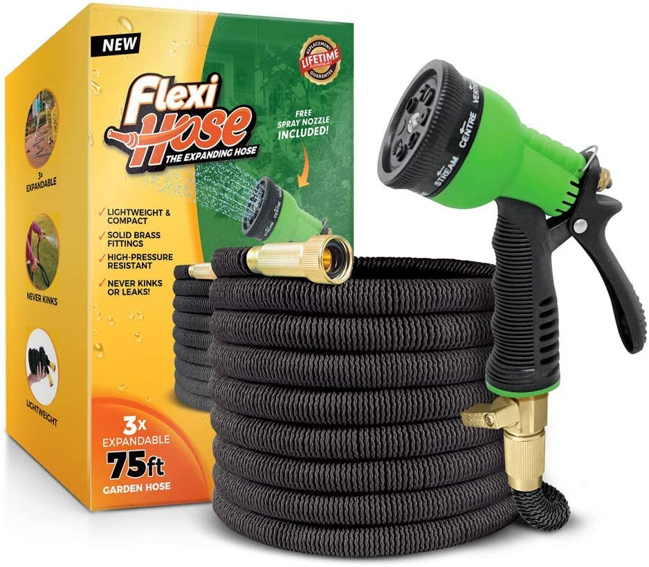 Flexi Hose & 8 Function Nozzle, 75 FT Lightweight Expandable Garden Hose | No-Kink Flexibility - Extra Strength with 3/4 Inch Solid Brass Fittings & Double Latex Core | Rot, Crack, Leak Resistant