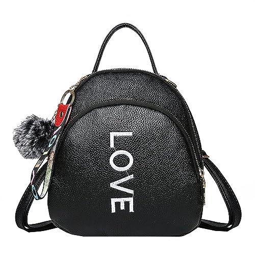 Nuevo Bolsos Mochilas Mujer de PU de Viaje con Bola de pelo de Moda Bolso Casual de Mujeres para Viaje o Escuela Paquete de Diario Messenger Bag Backpack: ...