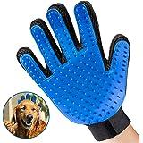 Fypo Guantes para Cepillar Mascotas y Quitar Pelos TPR Manopla Masaje Perros y Gatos Tamaño Ajustable Azul (Guante Derecho)
