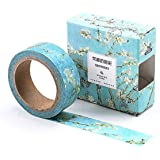 The Colors of Van Gogh Sticky Washi Tape Notebook Masking DIY Decoration Tag (Almond Blossom)