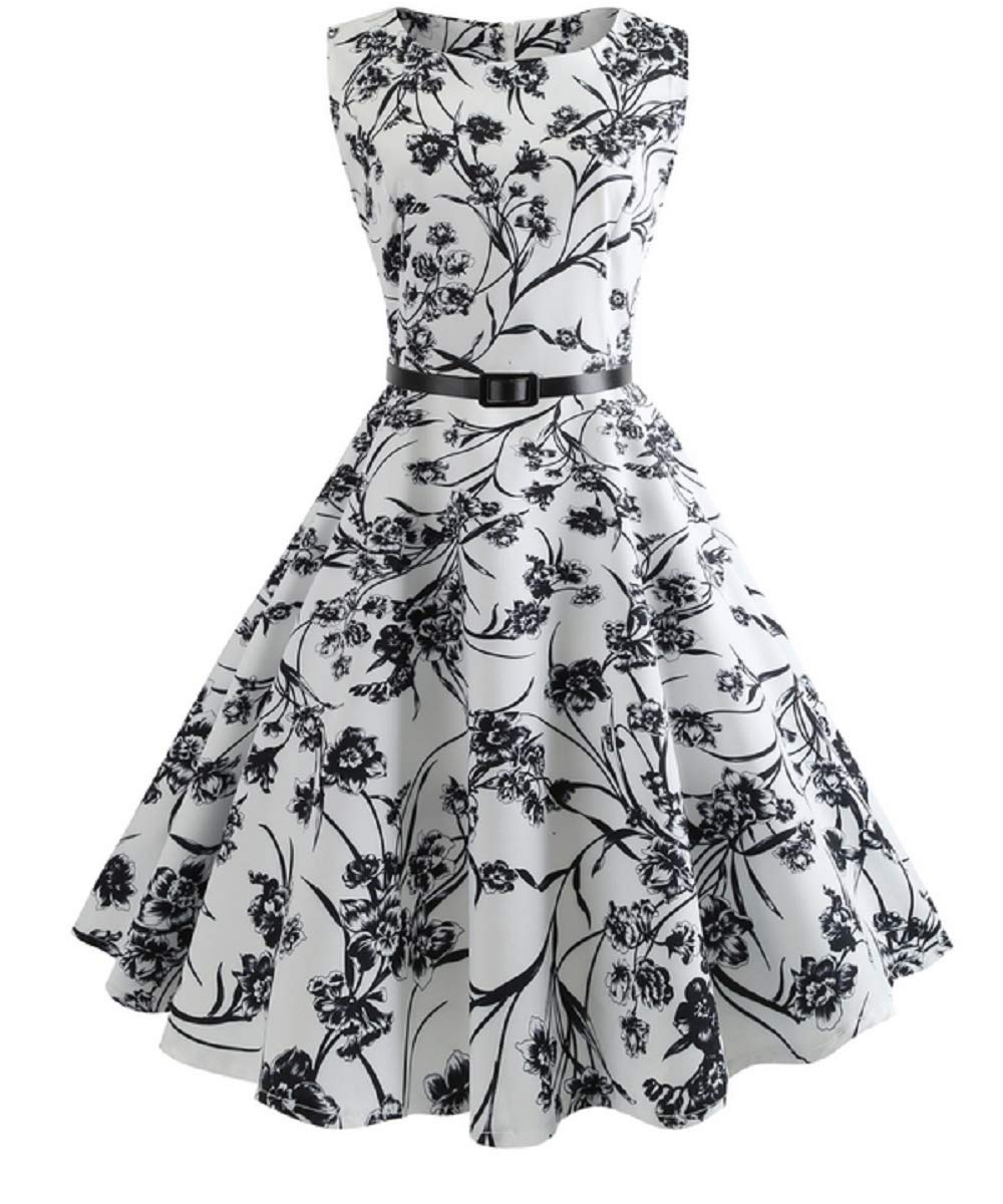 blueeeflowersonwhite Large Women's Vintage Printing Dress Sleeveless Dress Party Cocktail Dress Hepburn Style Temperament Dress