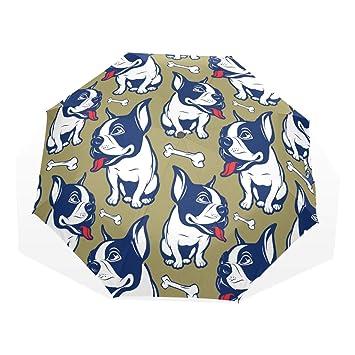 GUKENQ - Paraguas de Viaje Ligero y antirayos UV, diseño de Bulldog francés, para