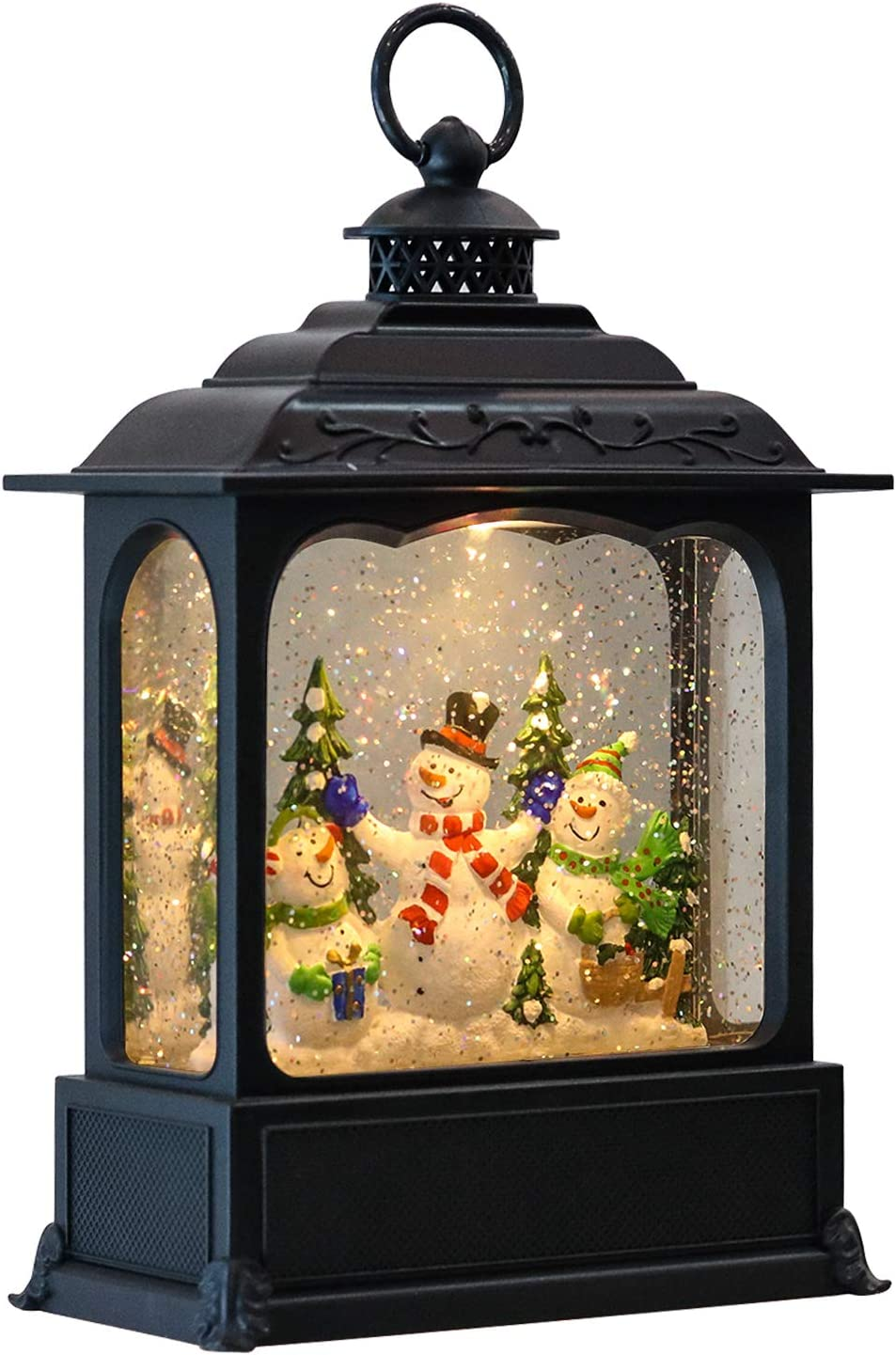 Eldnacele Musical Snow Globe Lantern with Timer, Lighted USB/Battery Operated Swirling Singing Water Glittering Lantern, Snow Globes Lantern for Adults and Kids Christmas Decoration- Snowman