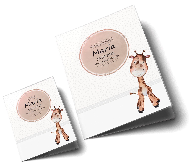 U-Heft Set personalisiert, Giraffe U-Heft H/ülle SET Safari Tour Untersuchungsheft H/ülle /& Impfpassh/ülle sch/öne Geschnkidee personalisierbar mit Namen und Geburtsdatum
