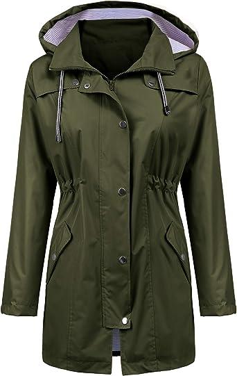 Lulupi Womens Waterproof Raincoat Hooded Long Sleeve Rain Jacket Cotton Lined Windproof and Warm Windbreaker Outdoor Zipped Trench Coats