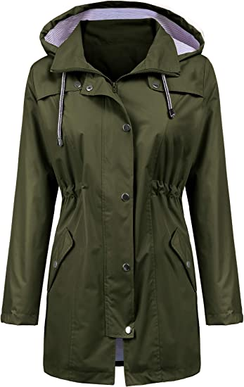 LOMON Women's Long Hooded Raincoat