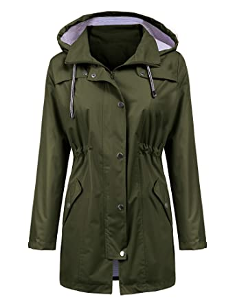 Lomon Raincoat Women Waterproof Long Hooded Trench Coats Lined Windbreaker Travel Jacket S Xxl by Lomon