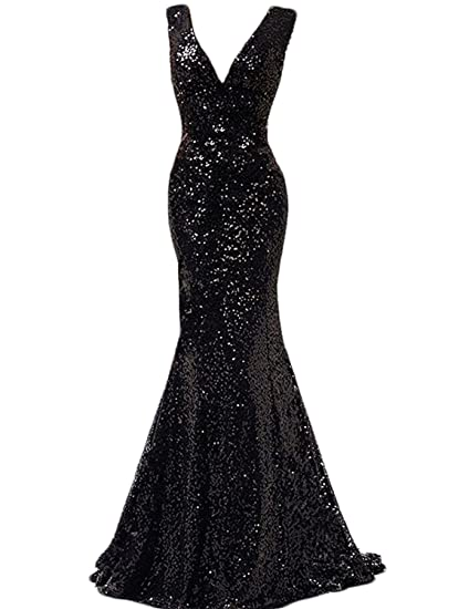 Stillluxury V Neck Sequins Mermaid Bridesmaid Dresses Evening Gowns for Women Wedding Party Black Size 6