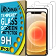 AMRICHMAN Screen Protector Compatible with iPhone 12, Tempered Glass Screen Protector for iphone 12 Pro 6.1 inch 3 Pack