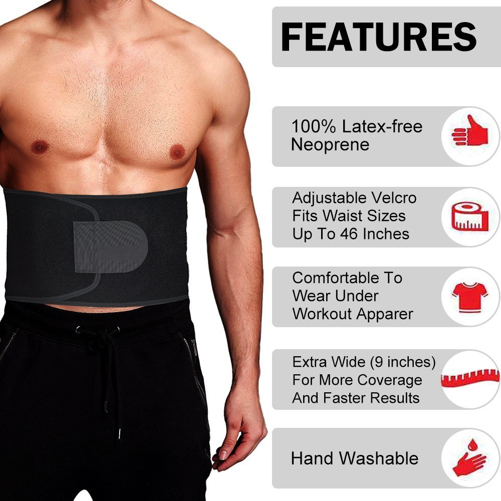 Waist Trimmers,Adjustable Waist Trimmer for Men and Women to Loose Weight and Keep Fit,Best Back Belt Support For Men Women, Back Support Belt For Squats, Deadlif,Thrusters Lifting Belt For Powerlift (black, Large)