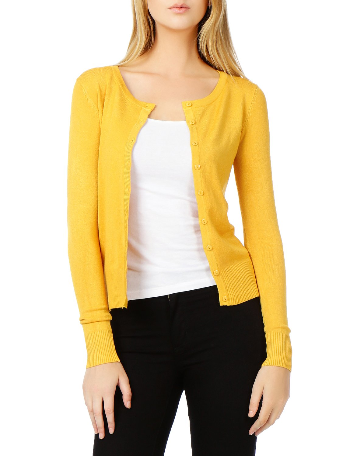LE3NO Womens Lightweight Round Neck Fine Knit Cardigan Sweater With Stretch by LE3NO (Image #6)