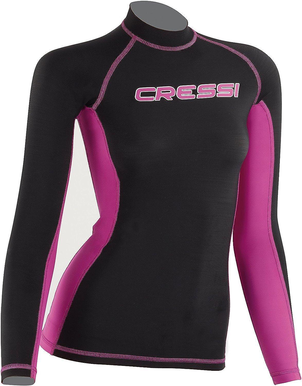 Cressi Ladies Lycra Skin Long Sleeve Rash Guard, Black Pink - Long Sleeve, X-Large