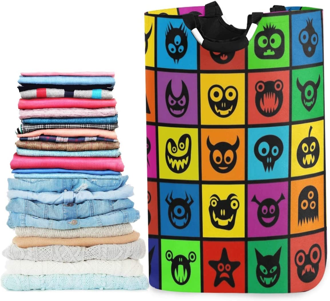 visesunny Collapsible Laundry Basket Funny Colorful Monster Large Laundry Hamper Oxford Fabric Dirty Clothes Toy Organizer with Handle for Bathroom Kids Room Dorm