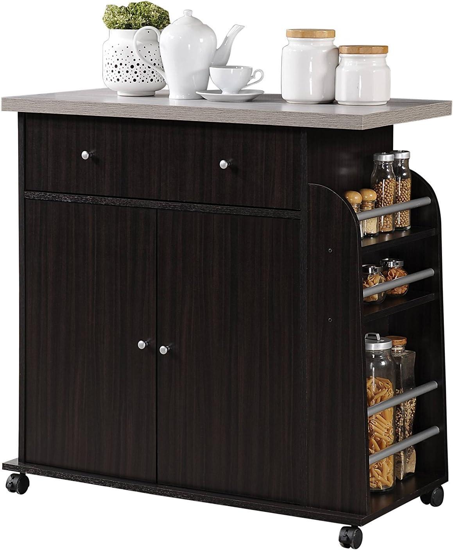 Amazon Com Hodedah Import Kitchen Island With Spice Rack And Towel Rack Chocolate Furniture Decor