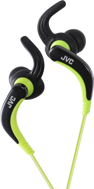 JVC HA-ETX30-B-E - Auriculares deportivos (resistentes al agua, controlador de llamada, microfóno, 20-20000 Hz, cable de 1 m, imán de neodimio), color negro y verde