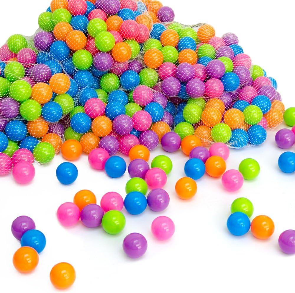 LittleTom Pelotas multicolores de plástico Ø5,5cm de diámetro | 50 pequeñas Bolas de colores para bebés | para llenar piscinas tiendas de campaña inflables para niños | mezcla de 5 colores fucsia mora