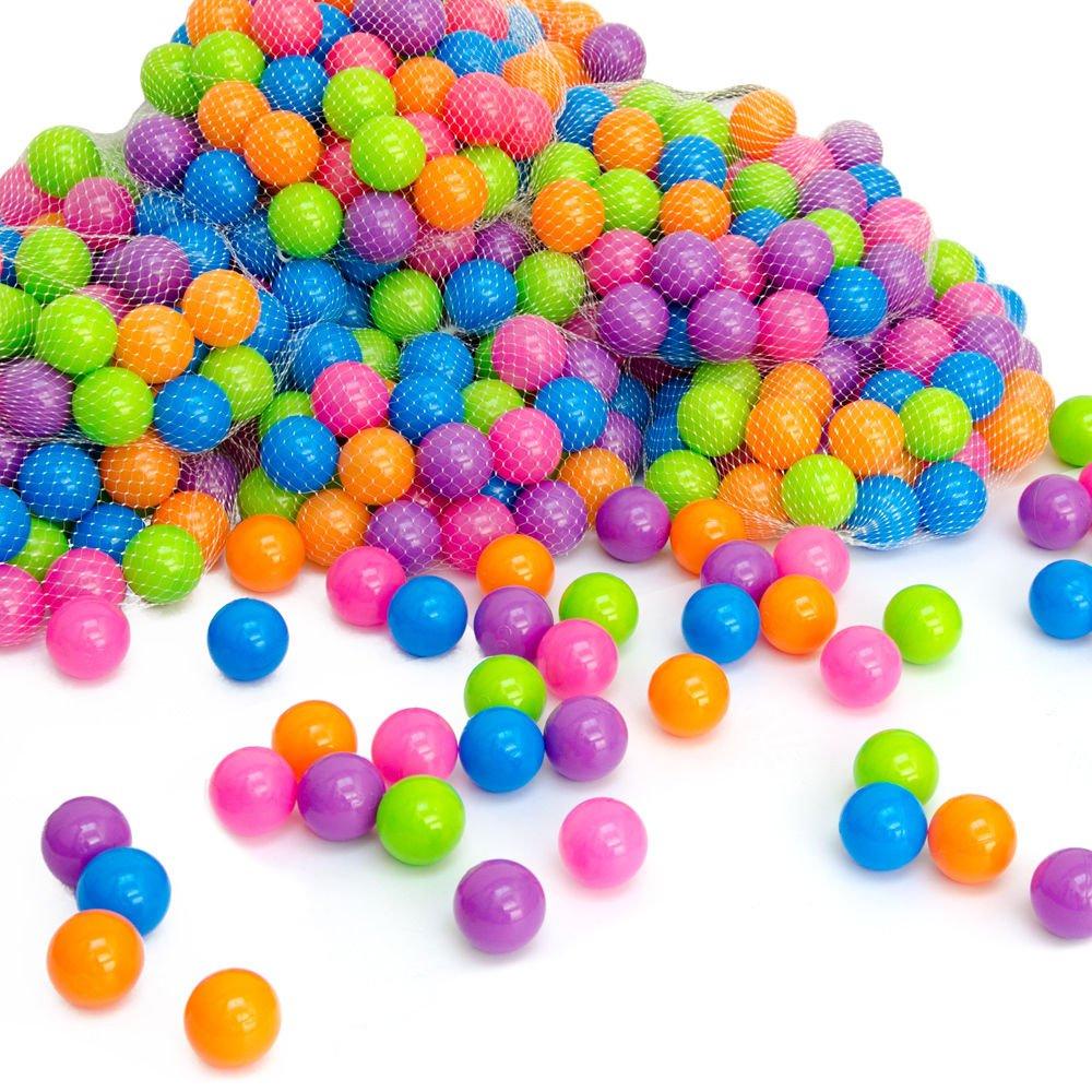 LittleTom 50 Bällebadbälle Ø 5, 5cm Bälle-Set für Bällebad bunte Spielbälle Kinder-Bälle für Bällebad-Pool Plastikbälle Babybälle | 5 gemischte Pastell-Farben | geprüfte Qualität Omnideal