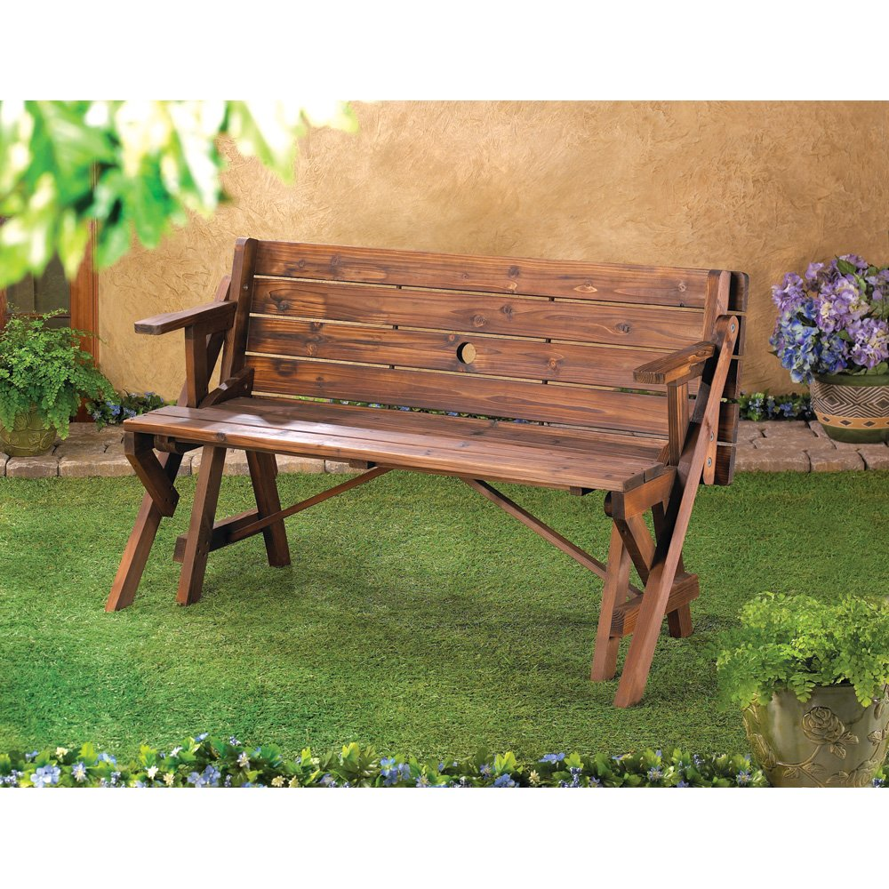 Amazon.com : Folding Convertible Outdoor Bench Garden Picnic Table : Patio,  Lawn U0026 Garden