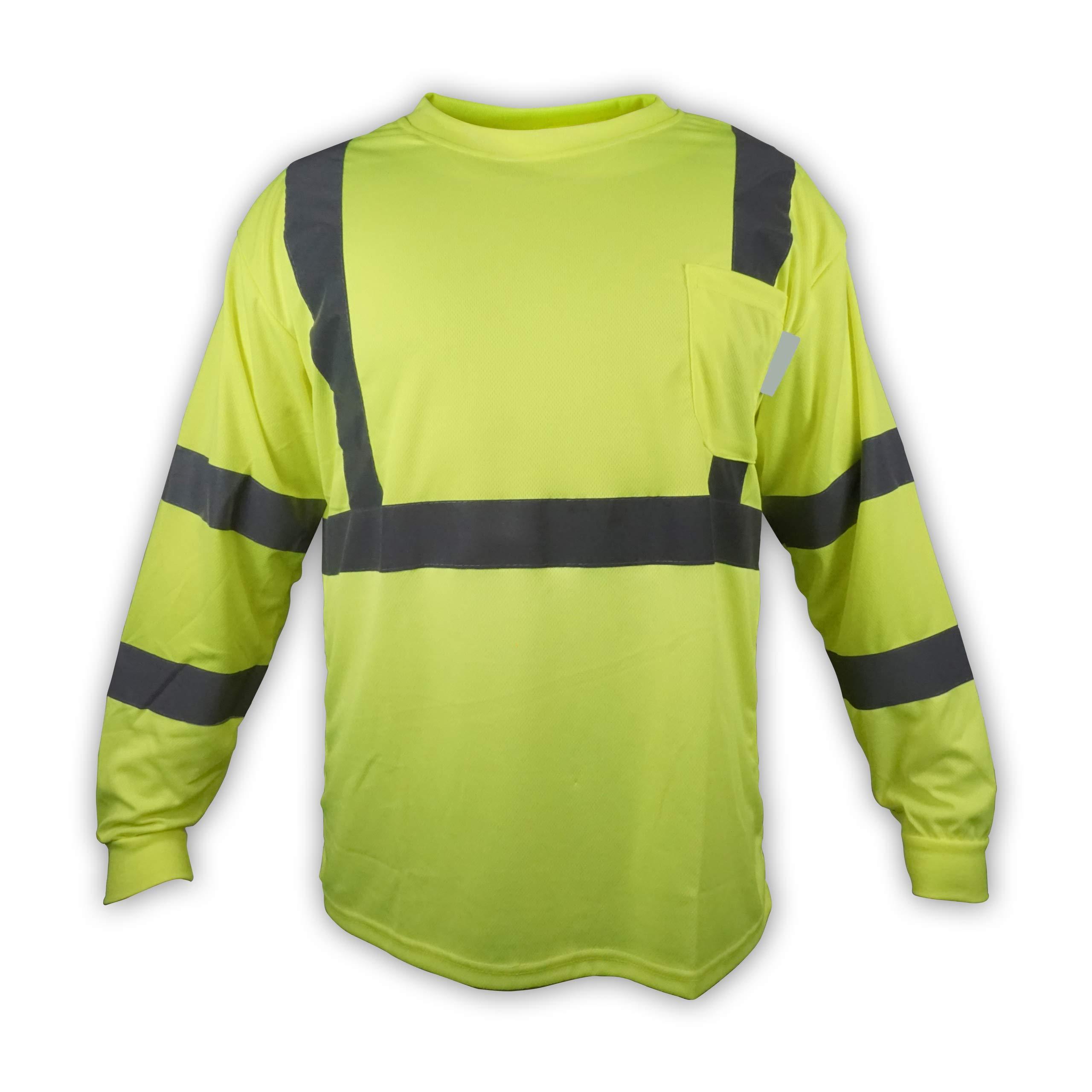 TrueCrest Construction Neon Safety Long Sleeve High Visibility T Shirt, XL