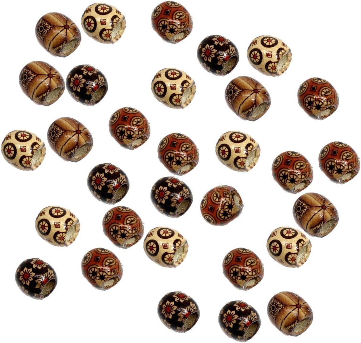 Set of 6 fabric beads barrel bead Fiber Bead macrame tube Red white and blue polka dot with some swish Wide hole dread sleeve