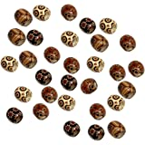 Rockin Beads 90 Wood Large Hole Macrame Beads 16mm Mixed Colors Painted