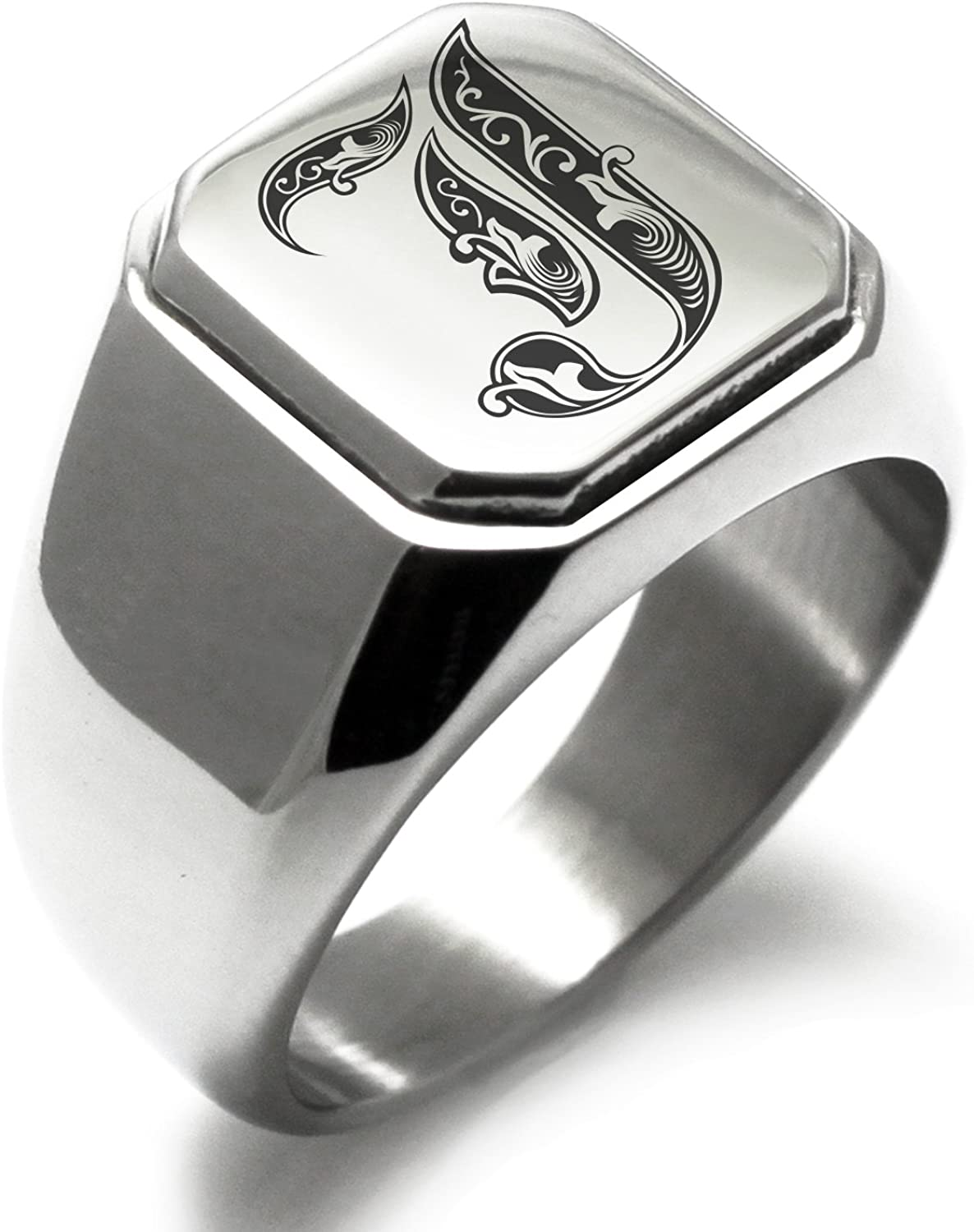 Stainless Steel Letter J Alphabet Initial Royal Monogram Square Flat Top Biker Style Polished Ring