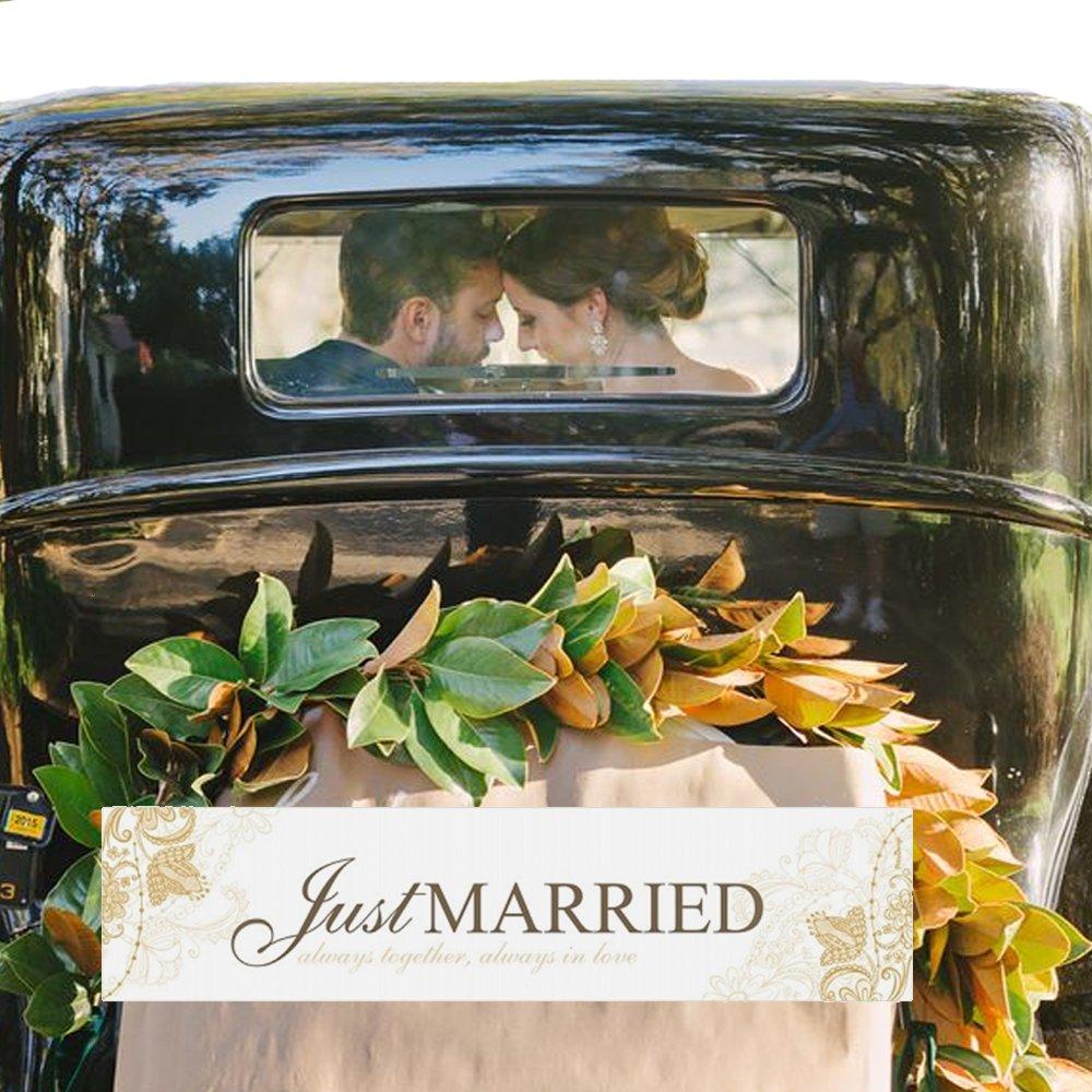 Hochzeit Schild 44 cm Just Married  Nummernschild Autodekoration Autokennzeichen