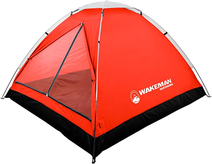 2-Person Tent, Water Resistant Dome Tent for Camping with Removable Rain Fly and Carry Bag, Lost River 2 Person Tent by Wakeman Outdoors