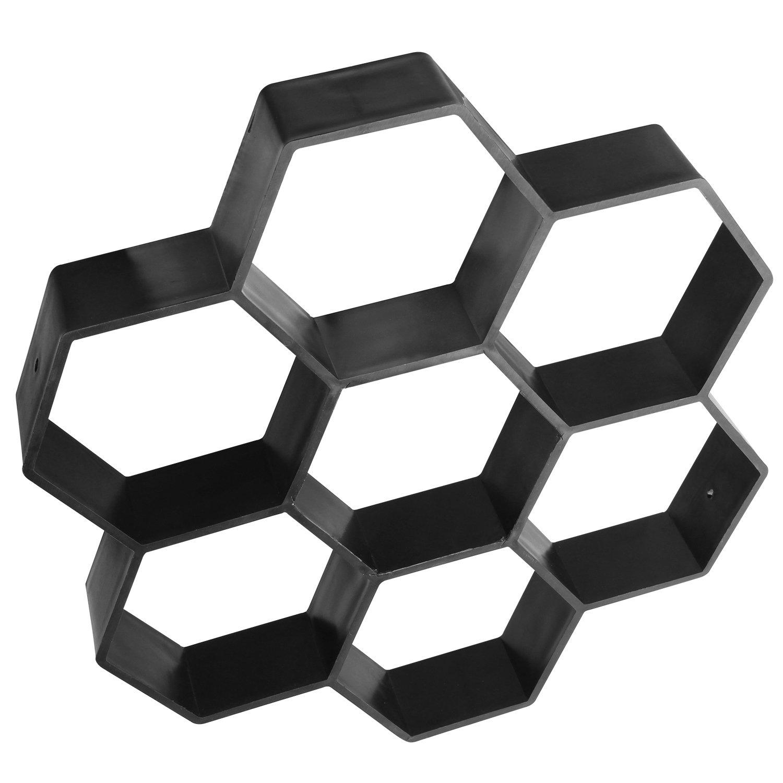Concrete Walk Maker Mold 11.5''x11.5''x1.7'', CBTONE Concrete Stepping Stone Mold Reusable Garden DIY Paving Pavement Stone Mold - Hexagon Patterns