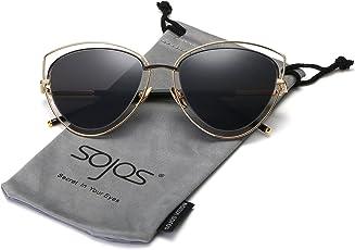 Sojos Gafas De Sol Mujer Ojo De Gato Marco Metal Doble Borde SJ1047