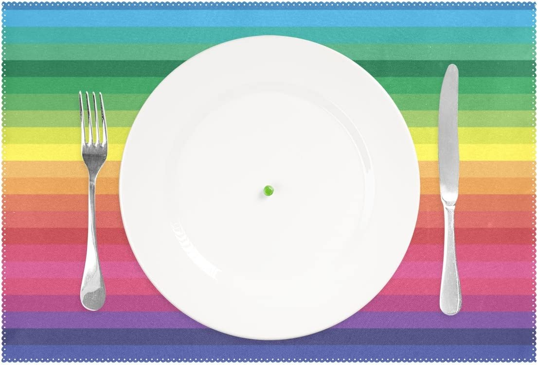 Polyester Tablemat Place Mat for Kitchen Dining Room 1 Piece LIANCHENYI Rainbow Heat-resistant Placemats