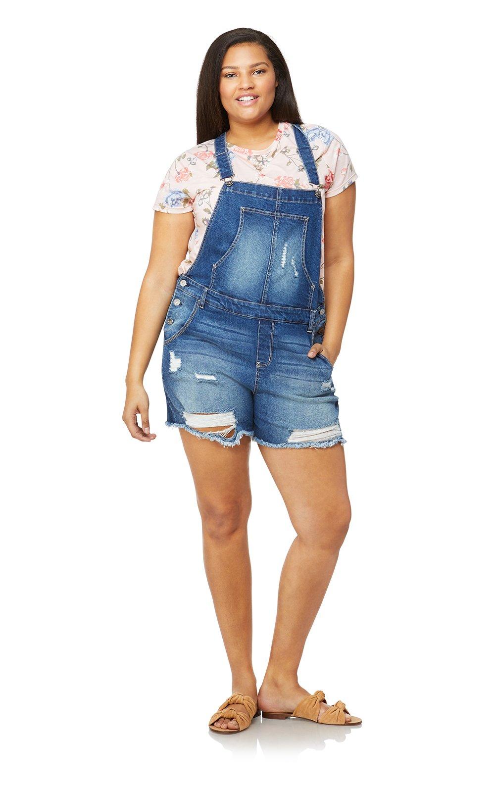 WallFlower Women's Juniors Plus Size Destructed Denim Shortalls in Luna, 1X