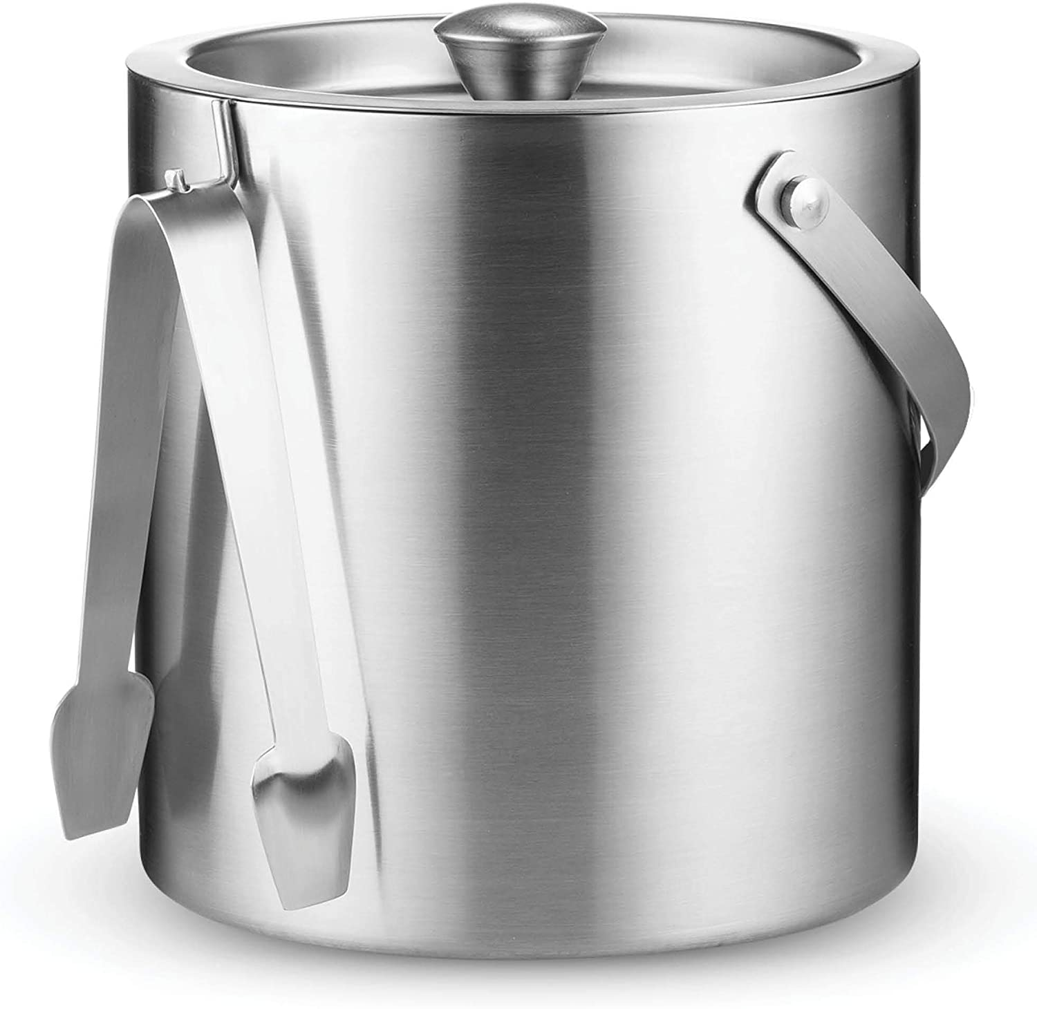3 Liter Carry leather Handle Wine Bottle Included Strainer Keeps Ice Cold /& Dry Double-Wall Stainless Steel Insulated Ice Bucket With Lid and Ice Tong Great for Home Bar Chilling Beer Champagne