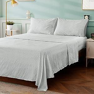 HOMEIDEAS 4 Piece Bed Sheet Set, 100% Brushed Microfiber 1800 Bedding Sheets - Deep Pockets(King, Grey Diamond)